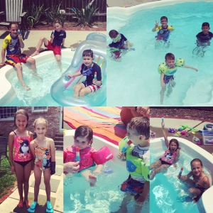 staying cool in the pool with friends and popsicles!