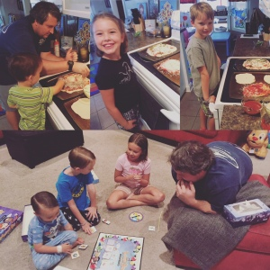 homemade pizza and family game night at home. it's always nice to have a saturday evening with nowhere to be!