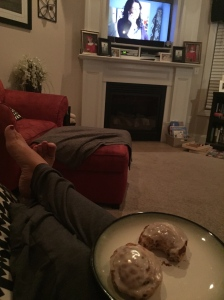 finally watching the first episode of parenthood with jeffrey, and enjoying some cinnamon rolls and chocolate milk. shhh! don't tell carson!