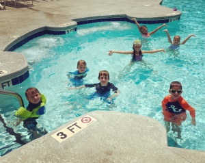 another fun day at the pool with our friends! good thing my babies really love the water!