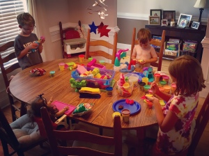 a fun afternoon of play dough on a hot summer day!