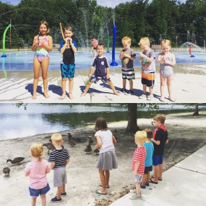 mondays aren't so rough when you get to go to the splash pad, play on the playground, enjoy a picnic lunch, and feed the ducks!