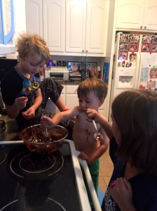 making brownies for our neighbors!