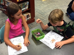 library days are the best--new books and movies, coloring, and computer time