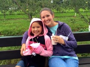 the girls enjoying our apple slushies. yum!