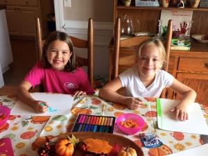 playing, coloring, laughing.