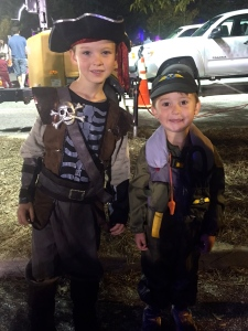 My little pirate and little pilot ready to collect some candy!