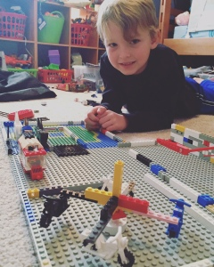 this creative boy created his own amusement park with legos, including a motorcycle ride that really did spin!