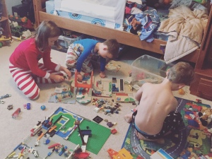 a morning in our pajamas and playing with daddy's legos and micro machines!