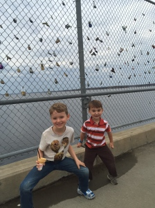 while sarah ann was at hip hop class, the boys wanted to walk the dam!